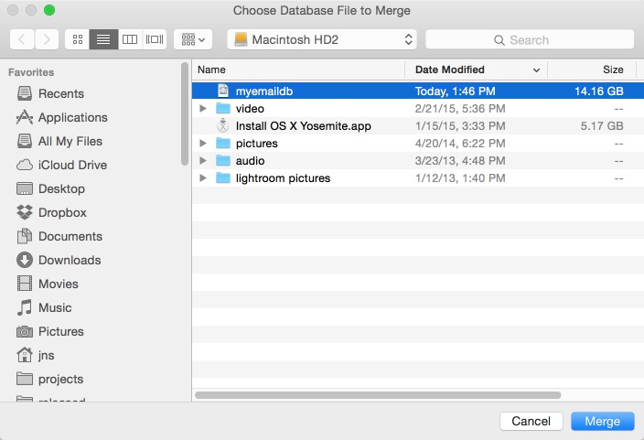 Choose Database to Merge