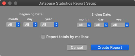 Database Statistics Report Setup